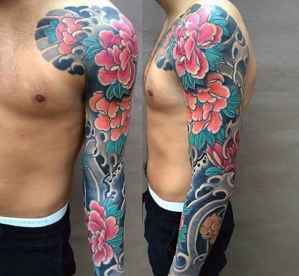 Amazing Mens Traditional Japanese Floral Flower Full Sleeve Tattoo Ideas