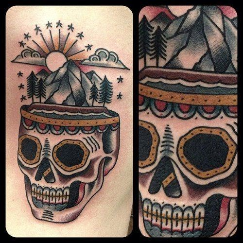 Amazing Mens Traditional Mountain Tattoo Designs
