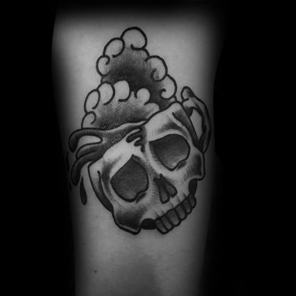 Amazing Mens Traditional Skull Coffee Cup Arm Tattoo Designs