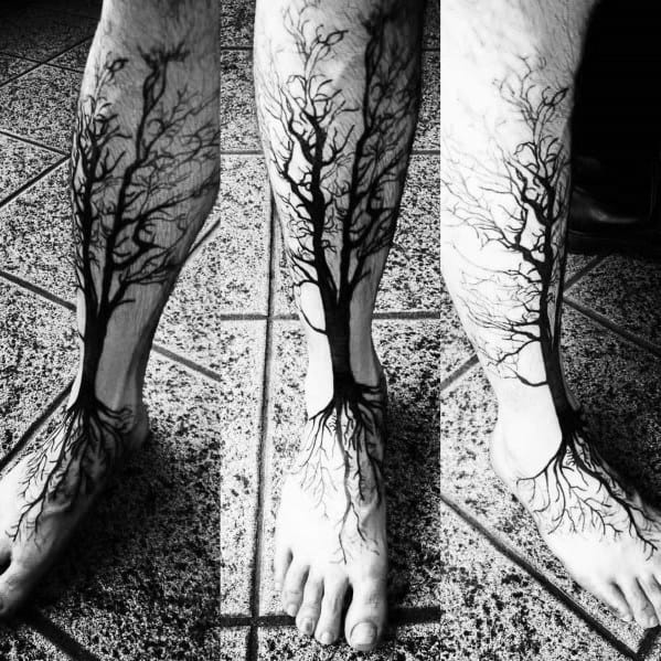 Amazing Mens Tree Leg Tattoo Designs