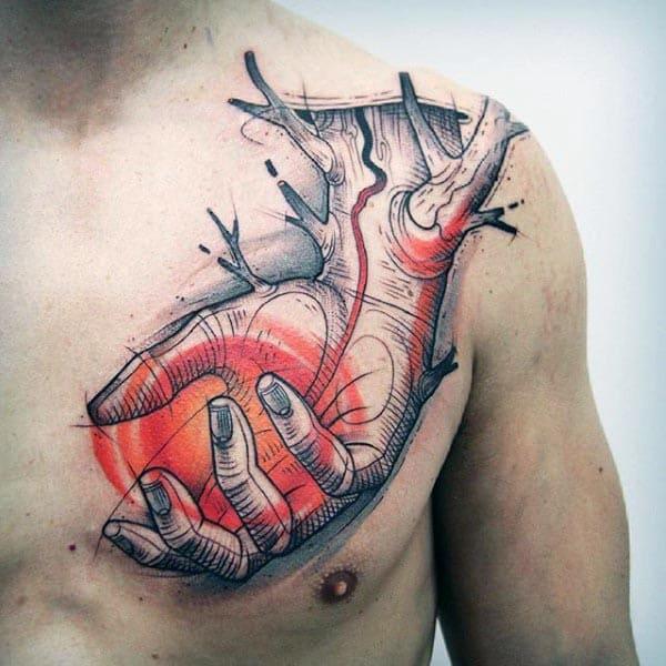 Amazing Mens Tree Of Life Hand Tattoo On Guys Chest