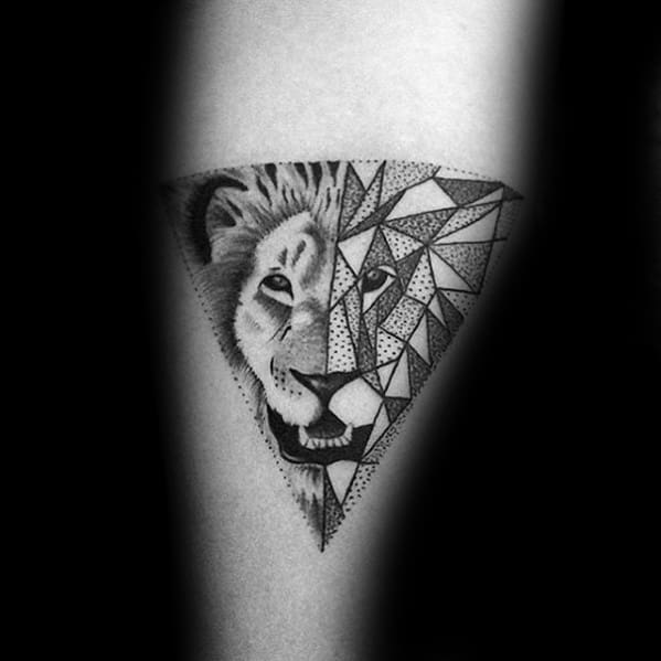 Amazing Mens Triangle Dotwork Geometric Lion Forearm Tattoo Designs