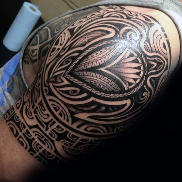 Amazing Mens Tribal Turtle Half Sleeve Tattoo Ideas