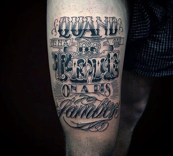 Amazing Mens Typography Tattoo Designs On Thigh