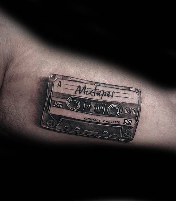 50 Cassette Tape Tattoo Designs For Men Retro Ink Ideas