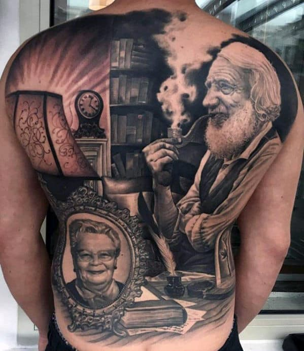 Amazing Mens Unbelievable Full Back Portrait Of Man Sitting At Desk Tattoo
