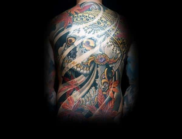 Amazing Mens Unique Skull Crown Full Back Japanese Tattoo Designs