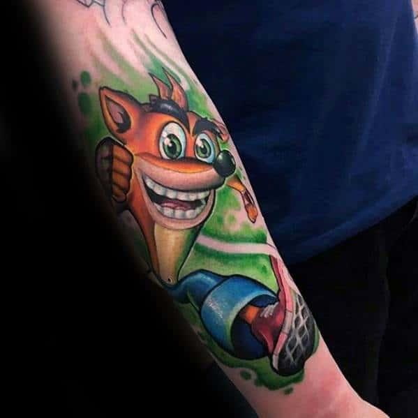 Amazing Mens Video Game Forearm Crash Bandicoot Tattoo Designs