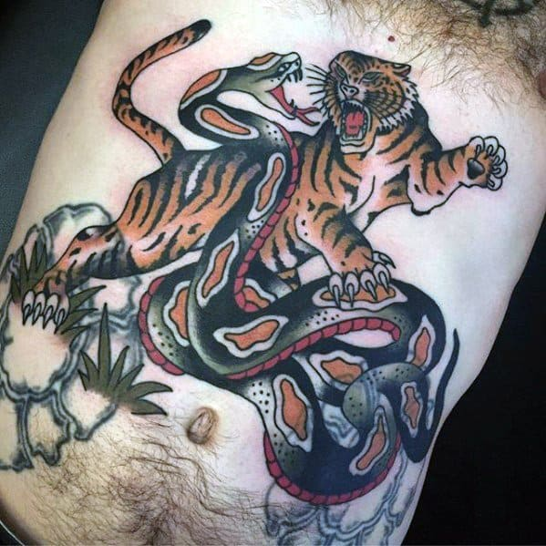 a5f1366ff2ae0 Amazing Mens Vintage Traditional Tiger And Snake Chest Tattoo Designs