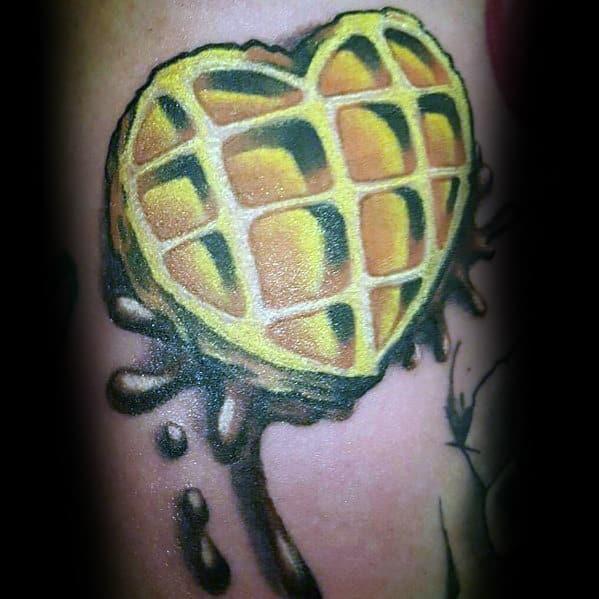 Amazing Mens Waffle Heart Tattoo Designs
