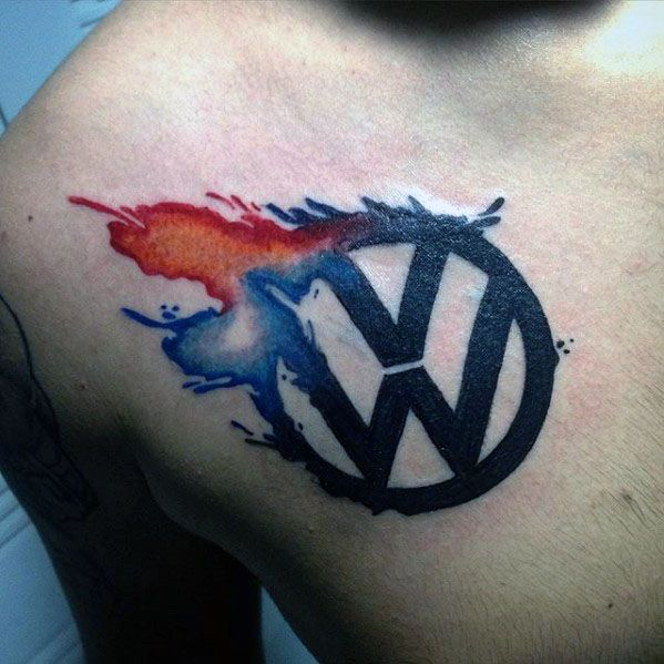 Amazing Mens Watercolor Chest Logo Volkswagen Wv Tattoo Designs