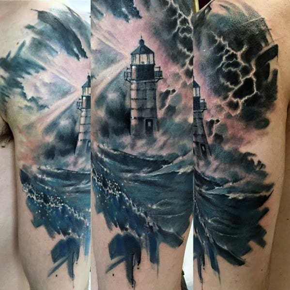 Amazing Mens Watercolor Lighthouse Thunderstorm Arm Tattoo Designs