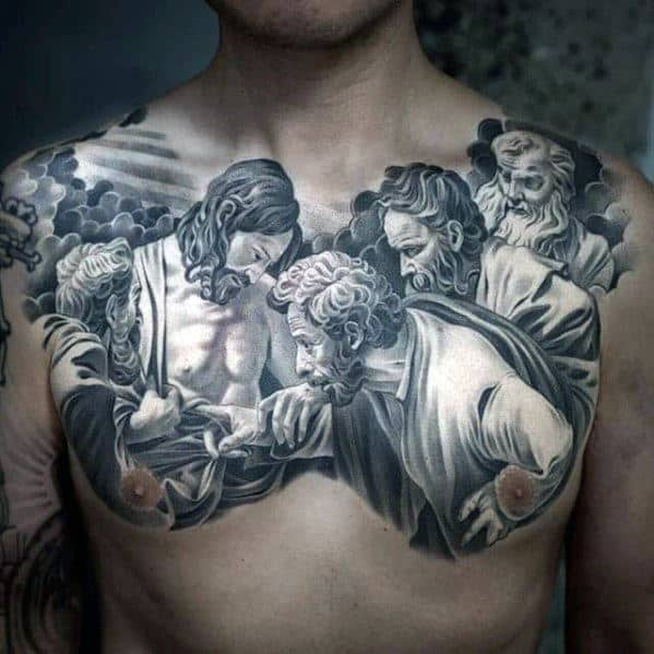 Amazing Mens White And Grey Ink 3d Realistic Jesus Chest Tattoos