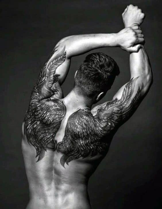 Amazing Mens Wings Upper Back Tattoos