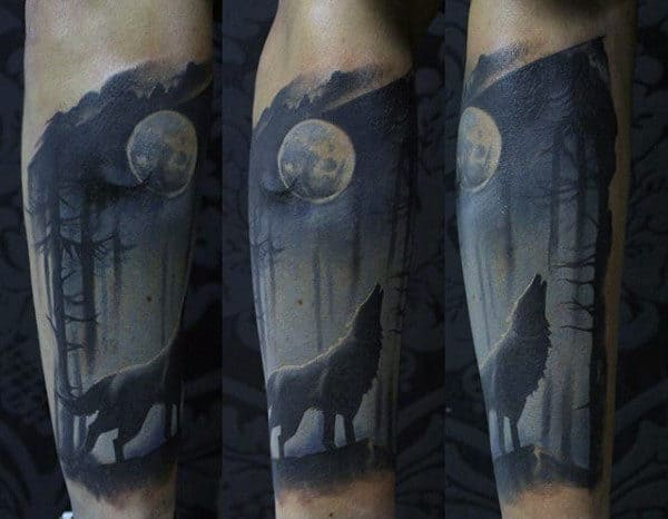 Amazing Mens Wolf Howling At Moon Forearm Sleeve Tattoo Designs