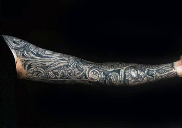 Amazing Mens Wood Carving Norse Themed Full Sleeve 3d Tattoos