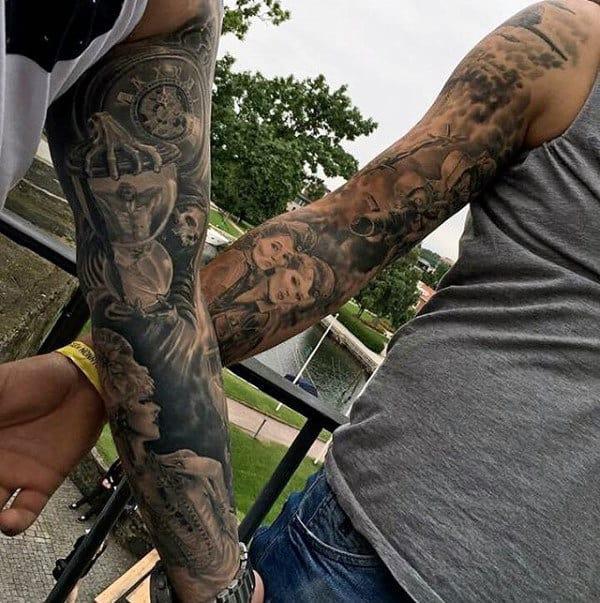 Amazing Mens Ww2 Themed Sleeve Tattoo Designs