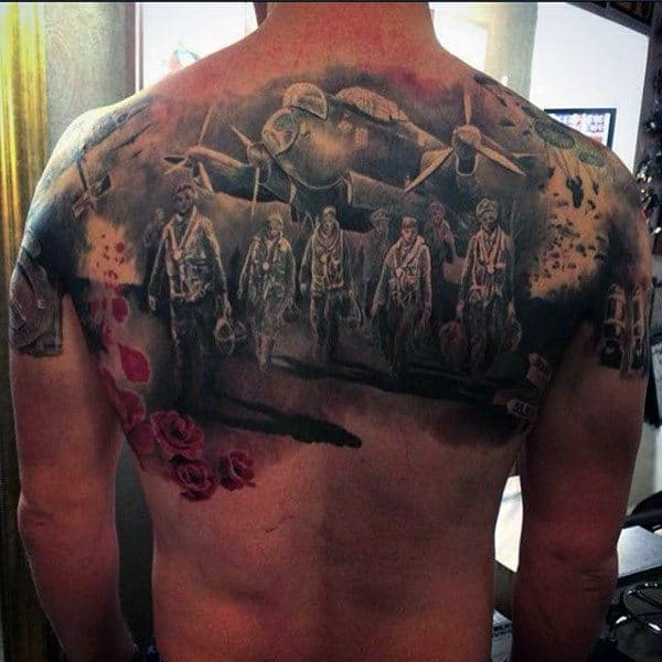 Amazing Mens Ww2 Themed Upper Back Memorial Tattoos