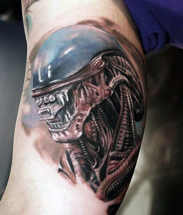 Amazing Mens Xenomorph Tattoo Designs On Arm