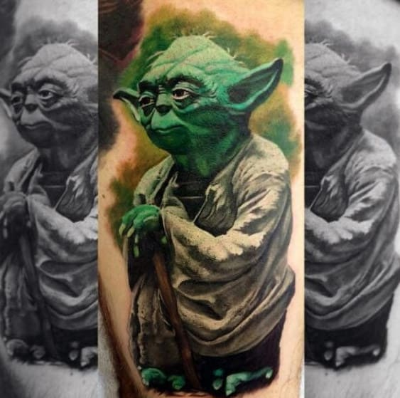 Amazing Mens Yoda Arm Tattoo With Watercolor Background