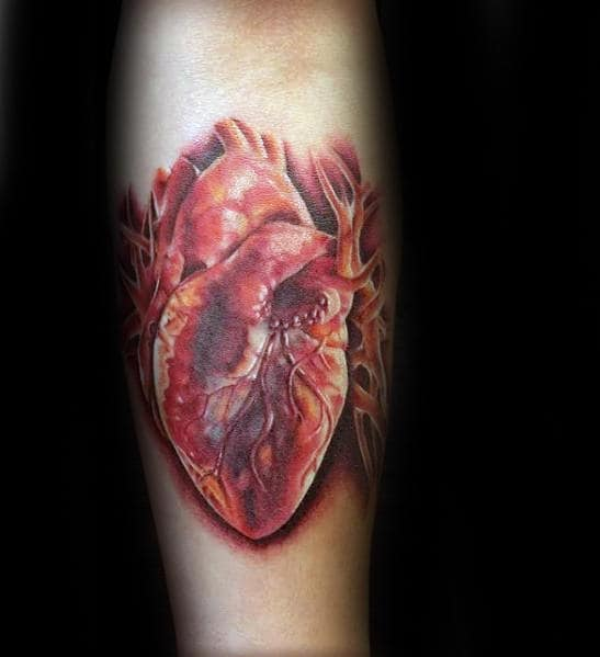 Amazing Mesn Red Realistic Heart Inner Forearm Tattoo