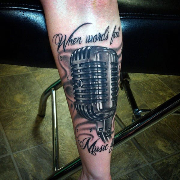Amazing Microphone Tattoo With Quote Male Forearms