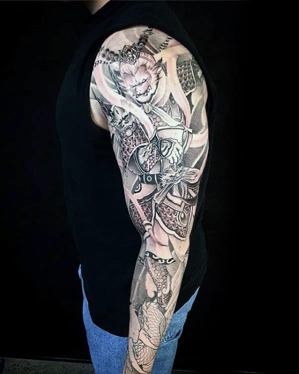 Amazing Monkey King Full Sleeve Tattoo On Guy