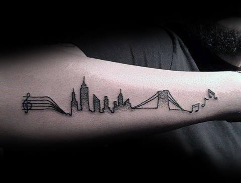 Amazing Music Note Skyline Mens Outer Forearm Tattoo Design Ideas