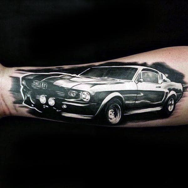 Amazing Mustang Mens Outer Forearm Shaded Tattoo Design Ideas
