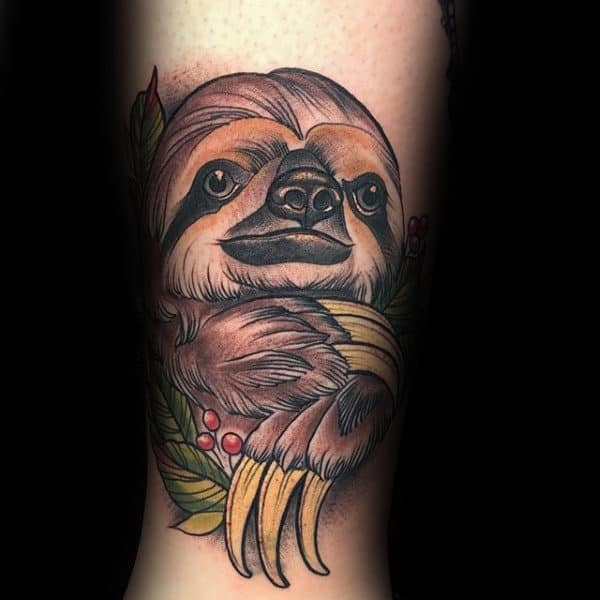 Amazing Neo Traditional Guys Sloth Inner Arm Tattoos For Gentlemen