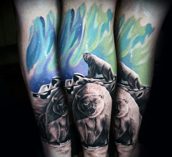 Amazing Northern Lights Realistic Mens Polar Bear Forearm Tattoo