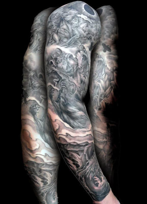 Amazing Odin Full Sleeve Guys Tattoo Ideas