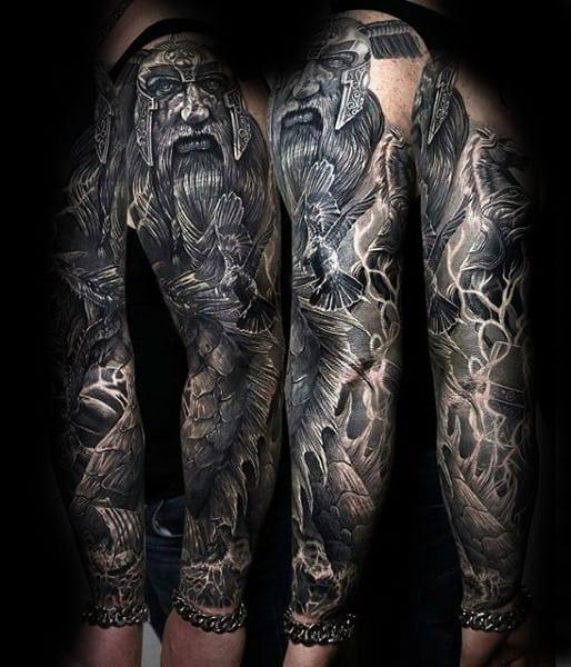 Amazing Odin Full Sleeve Tattoo Design On Gentleman