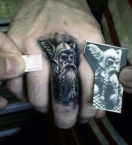 Amazing Odin Portrait Mens Finger And Knuckle Tattoo Design