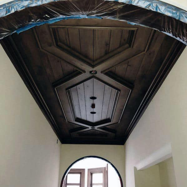 Amazing Ornate Dark Wood Stained Ceiling Ideas For Front Foyer Of Home
