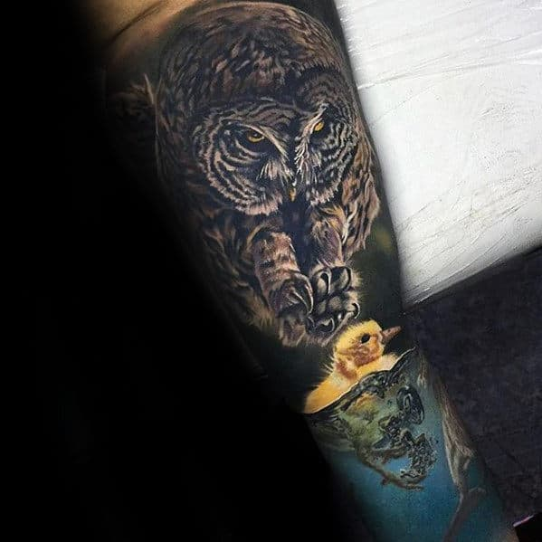 Amazing Owl With Yellow Chick In Water Mens Realistic 3d Sleeve Tattoo Designs