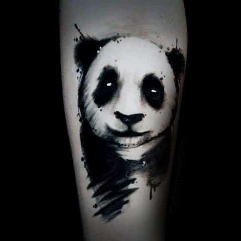 Amazing Panda Watercolor Tattoo For Guys On Inner Forearm