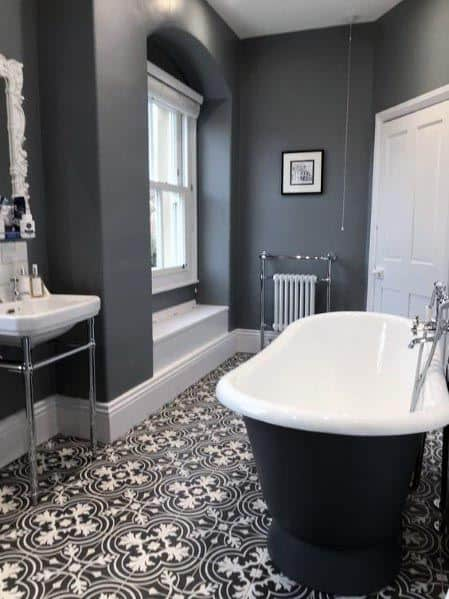 Amazing Pattern Floors With Grey Walls Bathroom Ideas