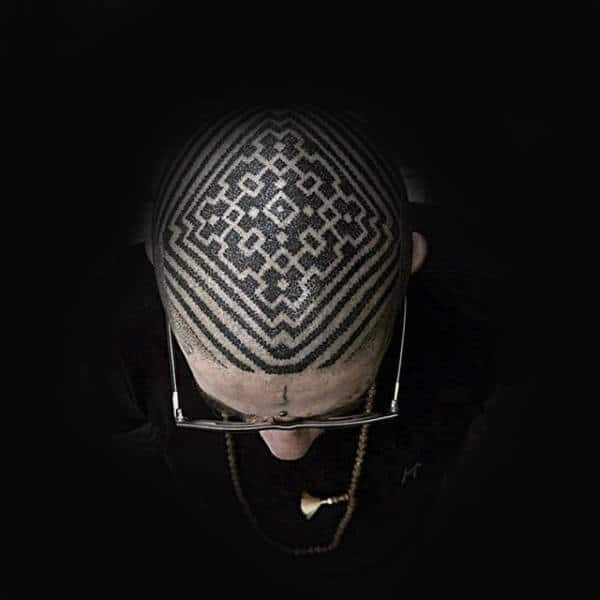 Amazing Pattern Male Head Tattoo With Dotwork Design