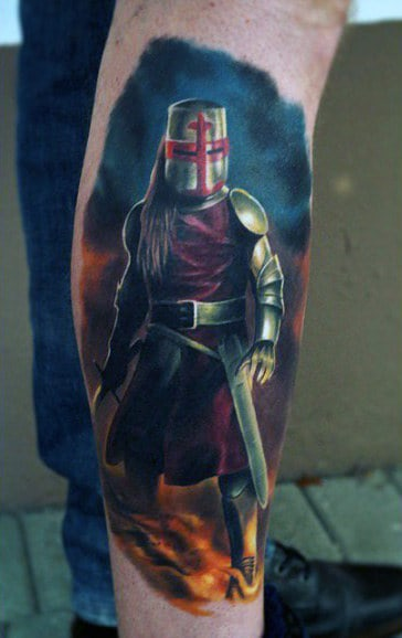 Amazing Plated Mail Knight Male Tattoos