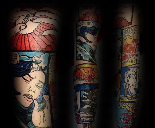 Amazing Pop Art Tattoo Full Sleeve Design For Men