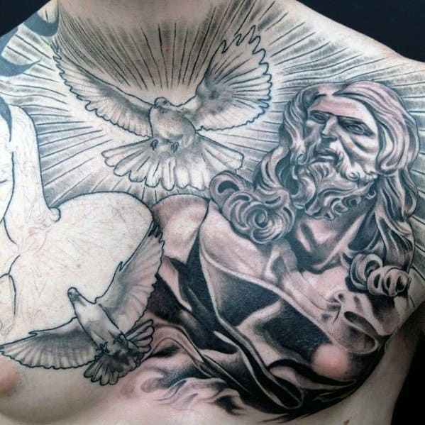 Amazing Radiant Doves With Jesus Portrait Male Chest Tattoo