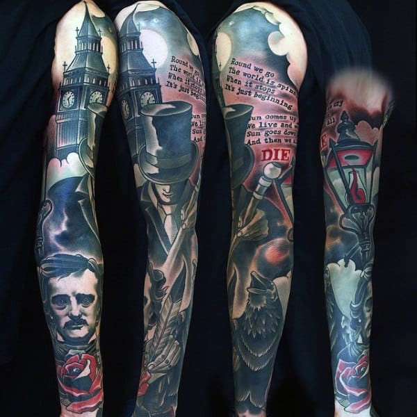 Amazing Raven In City With Lettering Tattoo For Guys On Sleeves