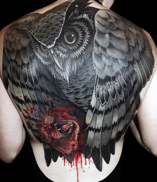 Amazing Realistic 3d Black Owl With Red Tiger Full Back Tattoos For Men