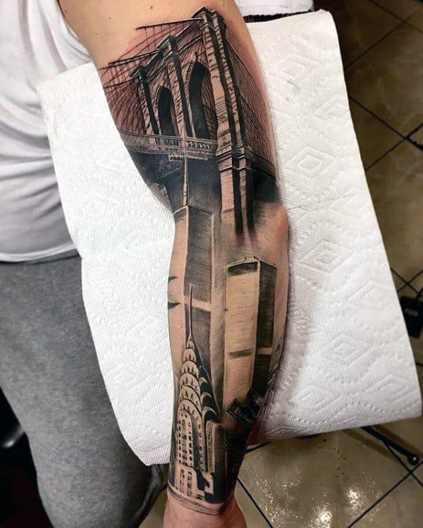 Amazing Realistic 3d Brooklyn Bridge Mens Sleeve Tattoos