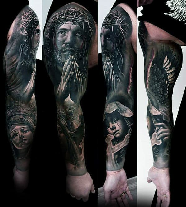 Amazing Realistic 3d Catholic Full Arm Sleeve Tattoo For Men