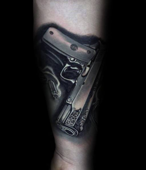 Amazing Realistic 3d Forearm Guys Cool Metallic 1911 Tattoo Ideas