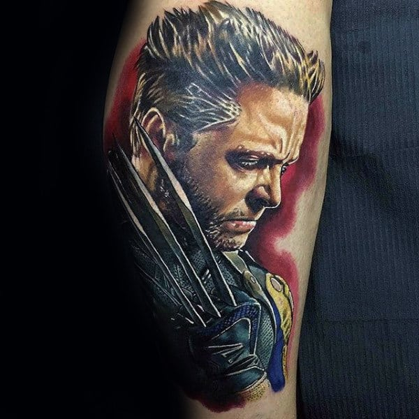 Amazing Realistic 3d Guys Wolverine James Howlett Tattoo On Leg