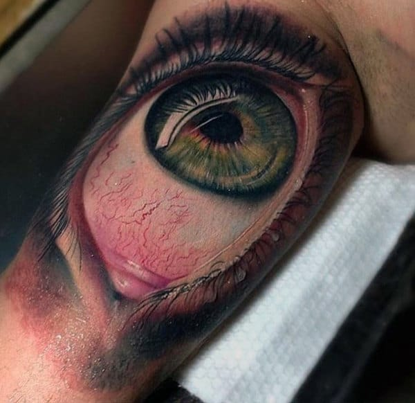 Amazing Realistic 3d Mens Bicep Eyeball Tattoo
