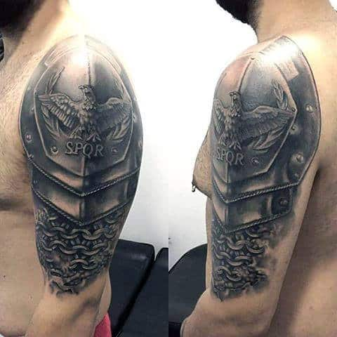 Amazing Realistic 3d Spqr Battle Armor Mens Half Sleeve Tattoos